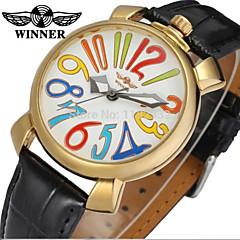 お買い得  レディース腕時計-WINNER 男性用 / 女性用 ドレスウォッチ / リストウォッチ / 機械式時計 レザー バンド カジュアル / 多色 ブラック / 自動巻き