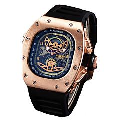 お買い得  大特価腕時計-男性用 クォーツ リストウォッチ 中国 カレンダー / クロノグラフ付き / 耐水 / 透かし加工 / クール シリコーン バンド ぜいたく / カジュアル / ファッション / ハロウィーン ブラック