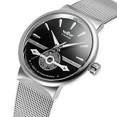 WINNER Herrn Modeuhr Kleideruhr Armbanduhr Automatikaufzug Transparentes Ziffernblatt Edelstahl Band Retro Freizeit Cool Silber