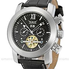 preiswerte Tolle Angebote auf Uhren-Jaragar Herrn Armbanduhr Kalender / Cool Leder Band Freizeit / Modisch Schwarz / Edelstahl / Automatikaufzug