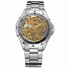 voordelige Roestvast staal-FORSINING Heren Modieus horloge Dress horloge Polshorloge Handmatig opwindmechanisme Hol Gegraveerd Roestvrij staal Band Vintage Zilver