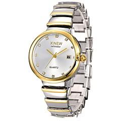 preiswerte Tolle Angebote auf Uhren-Damen Armbanduhr Chinesisch Kalender / Chronograph / Wasserdicht Edelstahl Band Freizeit / Modisch / Elegant Silber / Gold / Rotgold / Ein Jahr