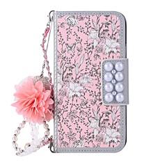 Недорогие Кейсы для iPhone 5-Кейс для Назначение Apple iPhone X iPhone 8 Бумажник для карт Кошелек со стендом Флип Магнитный С узором Чехол Цветы Твердый Кожа PU для