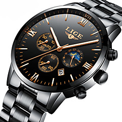 cheap Mechanical Watches-Men's Mechanical Watch Japanese Calendar / date / day / Chronograph / Water Resistant / Water Proof Stainless Steel Band Luxury / Elegant / Christmas Black / Silver / Moon Phase