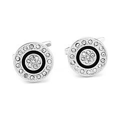 billiga Manschettknappar-Cirkel Form Silver Manschettknappar Diamantimitation / Legering Finkläder Herr Kostymsmycken Till Dagligen / Formell