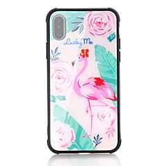 Недорогие Кейсы для iPhone X-Кейс для Назначение Apple iPhone X iPhone 8 Защита от удара С узором Кейс на заднюю панель Фламинго Твердый Закаленное стекло для iPhone