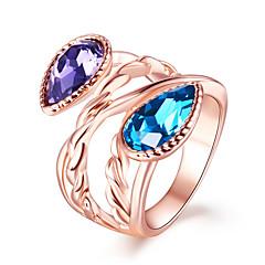 preiswerte Ringe-Damen Synthetischer Amethyst / Synthetischer Saphir Statement-Ring - Kupfer, Glas Europäisch, Modisch 6 / 7 / 8 Rotgold Für Party
