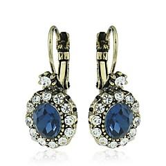 tanie Kolczyki koła-Damskie Kolczyki koła Kolczyki z klipsem Kryształ Rhinestone Prosty Kryształ Stop Owalny Biżuteria Codzienny
