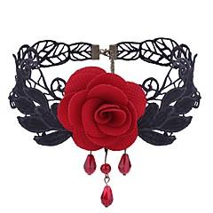 abordables Bijoux pour Femme-Femme Améthyste synthétique Collier court / Ras-du-cou - Dentelle Fleur Doux, Mode Noir, Rouge Colliers Tendance Bijoux 1 Pour Quotidien