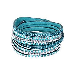baratos Pulseiras-Mulheres Pele Strass Multi Camadas Bracelete Pulseiras de couro Enrole Pulseiras - Básico Amizade Comprimento Longo Formato Circular Botão