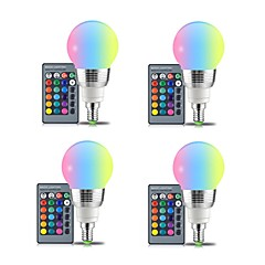 4pcs 3W E27 LED Globe Bulbs 3 leds SMD Remote-Controlled Decorative RGB+White 250lm 2000-8000K AC 85-265V