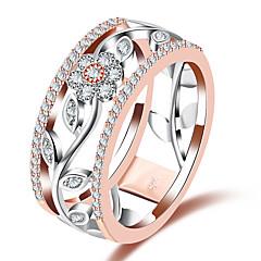 preiswerte Ringe-Damen Synthetischer Diamant Bandring - Kupfer, Glas Blume Europäisch, Modisch 7 / 8 / 9 Rotgold Für Hochzeit / Party