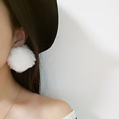 abordables Bijoux pour Femme-Femme Boucles d'oreille goujon - Fourrure Balle simple, Mode, énorme Rouge / Vert / Café léger Pour Quotidien