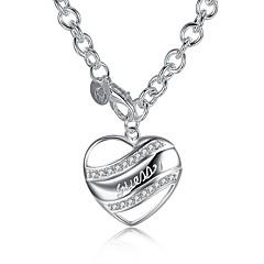 preiswerte Halsketten-Damen Kubikzirkonia Anhängerketten / Ketten - Zirkon, versilbert Herz damas, Süß, Modisch Hypoallergen Silber Modische Halsketten Schmuck Für Geschenk, Alltag