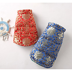 Cat Dog Coat Dog Clothes Casual/Daily Ethnic Floral/Botanical Blue Red Costume For Pets