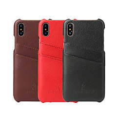 billige Etuier til iPhone 6-Etui Til iPhone X iPhone 8 iPhone 8 Plus iPhone 6 iPhone 6 Plus Kortholder Bagcover Helfarve Hårdt Ægte læder for iPhone X iPhone 8 Plus