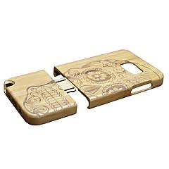 Недорогие Чехлы и кейсы для Galaxy Note 5-Кейс для Назначение SSamsung Galaxy Note 5 Защита от удара Кейс на заднюю панель Черепа Твердый Бамбук для Note 5