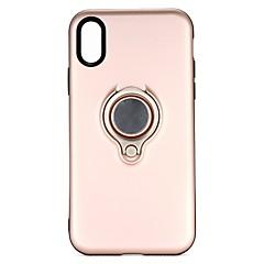 Недорогие Кейсы для iPhone-Кейс для Назначение Apple iPhone X / iPhone 8 / iPhone 8 Plus со стендом / Кольца-держатели Кейс на заднюю панель Однотонный Твердый ПК для iPhone X / iPhone 8 Pluss / iPhone 8