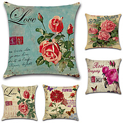 billige Puder-sæt af 5 amerikanske land rose blomster pudebetræk klassisk firkantet sofa pudebetræk 45 * 45cm pudebetræk