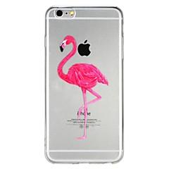 Недорогие Кейсы для iPhone-Кейс для Назначение Apple iPhone 6 iPhone 7 Полупрозрачный С узором Рельефный Кейс на заднюю панель Фламинго Мультипликация Животное