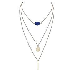 お買い得  ネックレス-女性用 レイヤード レイヤードネックレス  -  イミテーショントルマリン シンプル, 多層式 ブラック, レッド, ライトブルー ネックレス 用途 日常, デート