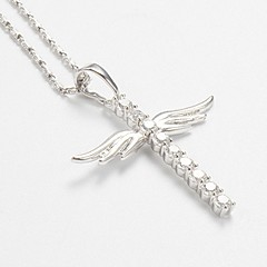 preiswerte Halsketten-Damen Synthetischer Diamant Anhängerketten / Ketten - versilbert Kreuz Grundlegend Silber Modische Halsketten Schmuck Für Normal, Alltag