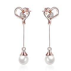 お買い得  イヤリング-女性用 ドロップイヤリング  -  人造真珠, イミテーションダイヤモンド フラワー クラシック, ファッション, エレガント ローズゴールド 用途 日常