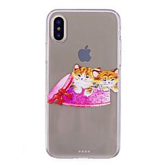 abordables Fundas para iPhone 6s-Funda Para Apple iPhone X iPhone 8 IMD Transparente Diseños Cubierta Trasera Gato Suave TPU para iPhone X iPhone 8 Plus iPhone 8 iPhone 7
