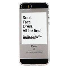 Недорогие Кейсы для iPhone 5-Кейс для Назначение Apple iPhone 6 iPhone 7 Полупрозрачный С узором Рельефный Кейс на заднюю панель Слова / выражения Мультипликация