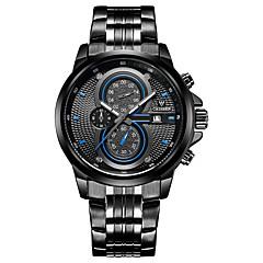 お買い得  メンズ腕時計-CADISEN 男性用 リストウォッチ クォーツ 30 m 耐水 カレンダー ストップウォッチ ステンレス バンド ハンズ ファッション ブラック / 白 - ホワイト Black / Red ブラック / ブルー 2年 電池寿命 / 夜光計