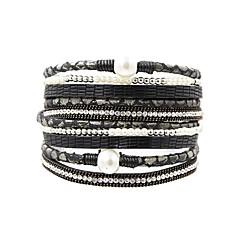 preiswerte Armbänder-Damen Wickelarmbänder - Perle, Leder Retro, Modisch, Elegant Armbänder Grau / Braun / Grün Für Alltag Ausgehen