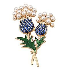 abordables Broches-Mujer Broche Perla artificial Básico Dulce Encantador Perla Artificial Legierung Flor Joyas Para Diario