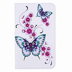 abordables Fundas para Tableta-titular de la tarjeta de patrón de mariposa con soporte magnético bolso de la caja de cuero de la pu con el patrón para samsung galaxy tab