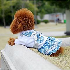 Χαμηλού Κόστους Ρούχα και αξεσουάρ για σκύλους-Γάτα Σκύλος Φορέματα Ρούχα για σκύλους Στυλάτο καουμπόη Συνδυασμός Χρωμάτων Πούλιες Δαντέλα Μπλε Στολές Για κατοικίδια