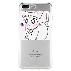 Недорогие Кейсы для iPhone 7 Plus-Кейс для Назначение Apple iPhone 6 iPhone 7 Полупрозрачный С узором Рельефный Кейс на заднюю панель Кот Мультипликация Мягкий ТПУ для