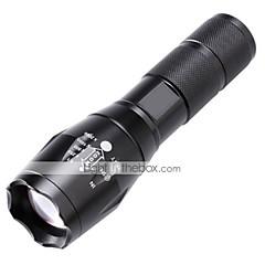 رخيصةأون -LED Flashlights LED 2000 lm 5 طريقة كري T6 زوومابلي Adjustable Focus Impact Resistant  Nonslip grip قابلة لإعادة الشحن ضد الماء فص الموضع