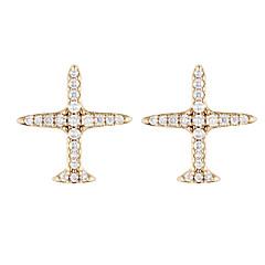 preiswerte Ohrringe-Damen Kubikzirkonia Geometrisch Ohrstecker - Zirkon Flugzeug Grundlegend Gold / Silber Für Geschenk Alltag