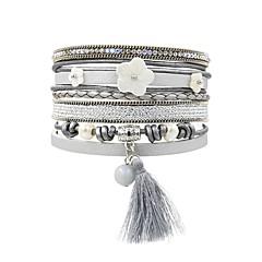 preiswerte Armbänder-Damen Quaste Wickelarmbänder - Perle, Leder, Hülle Blume Retro, Böhmische, Boho Armbänder Grau Für Alltag Ausgehen
