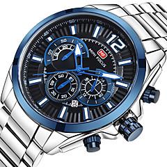 abordables -MINI FOCUS Homme Montre Bracelet Japonais Calendrier / Chronomètre / Montre Décontractée Acier Inoxydable Bande Luxe / Décontracté Argent