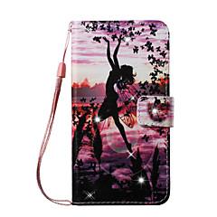 Недорогие Кейсы для iPhone 5-Кейс для Назначение Apple iPhone 8 / iPhone 8 Plus Кошелек / Бумажник для карт / Стразы Чехол Соблазнительная девушка Твердый Кожа PU для iPhone 8 Pluss / iPhone 8 / iPhone 7 Plus