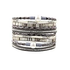 preiswerte Armbänder-Damen Wickelarmbänder - Perle, Leder Retro, Modisch, Elegant Armbänder Grau / Braun / Grün Für Alltag / Ausgehen