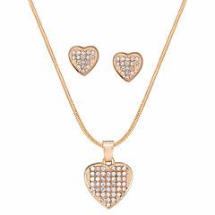 abordables Conjuntos de Joyas-Mujer Juego de Joyas Cristal Regalo Fiesta de Noche Enamorado Legierung Corazón 1 Collar Pendientes