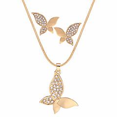 abordables Conjuntos de Joyas-Mujer Juego de Joyas Cristal Regalo Fiesta de Noche Enamorado Legierung Mariposa 1 Collar Pendientes