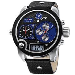 abordables Piel-Hombre Reloj Casual Japonés Cuarzo Resistente al Agua Dos Husos Horarios Tres Husos Horarios Reloj Casual Esfera Grande Cuero Auténtico