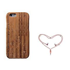 Недорогие Кейсы для iPhone-Кейс для Назначение Apple iPhone 6 Защита от удара Имитация дерева Твердый Бамбук для iPhone 6s iPhone 6