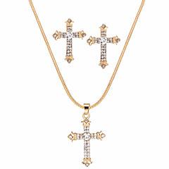 abordables Conjuntos de Joyas-Mujer Juego de Joyas Cristal Regalo Fiesta de Noche Enamorado Legierung Cruz 1 Collar Pendientes