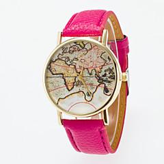 お買い得  メンズ腕時計-男性用 女性用 クォーツ ファッションウォッチ 中国 カジュアルウォッチ レザー バンド ヴィンテージ 世界地図柄 ブラック ブルー レッド オレンジ グリーン ピンク パープル 黄色 カーキ ローズ