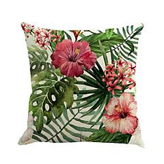 tanie Poduszki-1 szt Cotton / Linen Poszewka na poduszkę Poduszka-Nowość Pokrywa Pillow, Kwiaty Modny Nowość Kwiat Tropikalny
