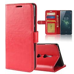 Недорогие Чехлы и кейсы для Sony-Кейс для Назначение Sony Xperia XA2 Ultra Xperia XZ2 Бумажник для карт Кошелек со стендом Флип Магнитный Чехол Сплошной цвет Твердый Кожа