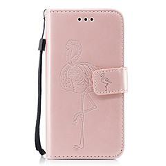 Недорогие Кейсы для iPhone-Кейс для Назначение Apple iPhone X iPhone 8 Бумажник для карт Кошелек со стендом С узором Рельефный Чехол Сплошной цвет Фламинго Твердый